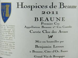 Beaune 1er Cru 2011 Hospices de Beaune Cuvée Clos des Avaux